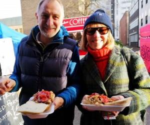North East - happy customers enoying porchetta in ciabatta